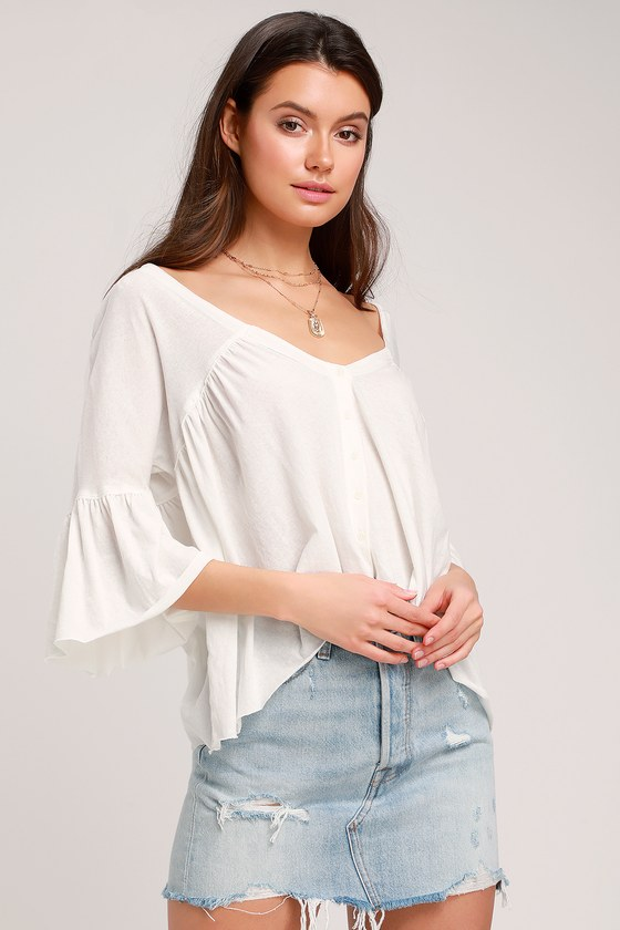 cd2a8f7f9 Free People Sweet Little Tee - Ivory Top - Flounce Sleeve Top