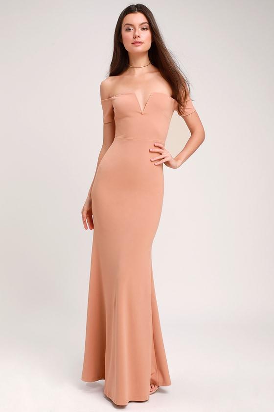 08df6290c6ad Stunning Maxi Dress - Nude Mermaid Maxi Dress - Nude Maxi Dress