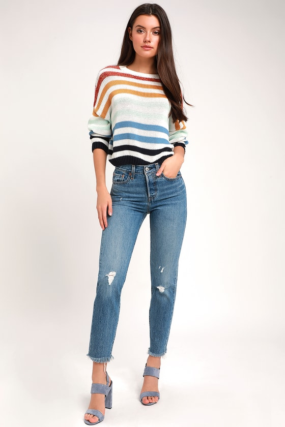 wide selection best collection get online Wedgie Medium Wash High Rise Distressed Jeans