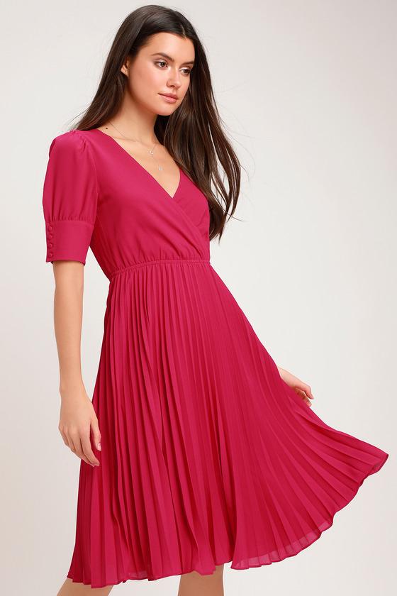6a1f16c4a9c5 Ali & Jay Angels Flight - Berry Pink Dress - Pleated Midi Dress