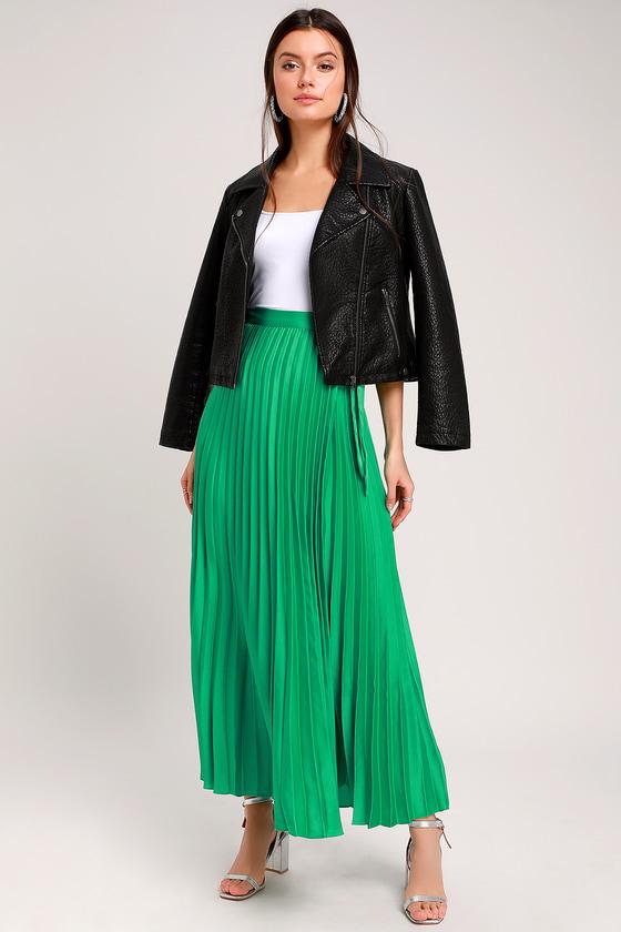 95402887c976 Green Wrap Skirt - Pleated Maxi Wrap Skirt - Satin Maxi Skirt