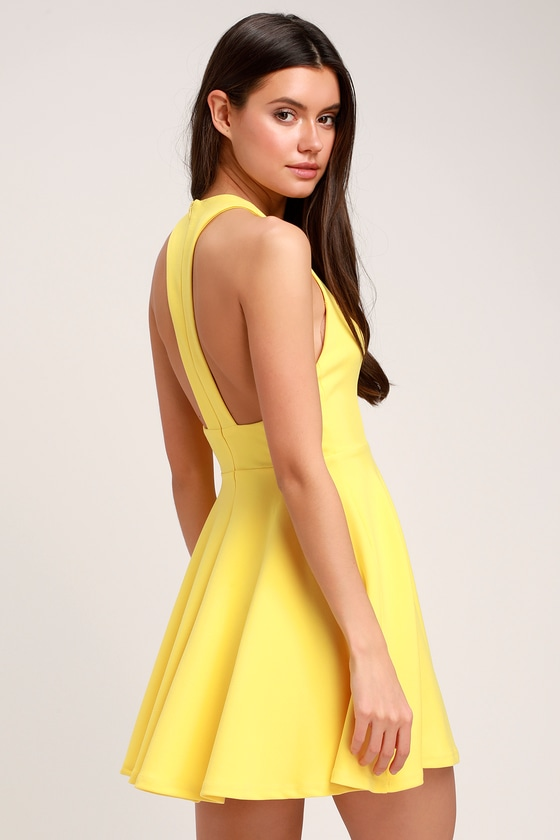 db0f4cd13b82 Cute Yellow Dress - Skater Dress - Racerback Dress - Fun Dress