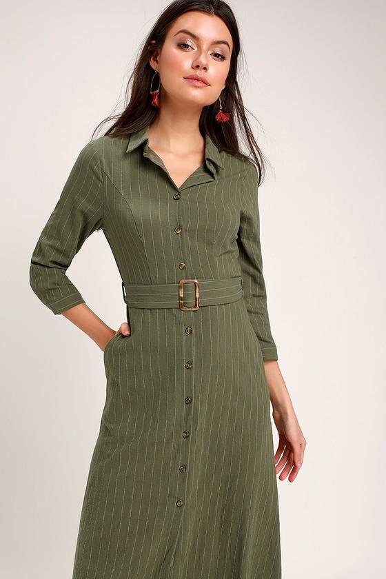 46527cf2eb3d Cute Olive Green Dress - Midi Dress - Midi Shirt Dress