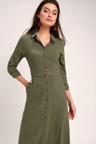 87409e6b2df Believe in Yourself Olive Green Striped Midi Shirt Dress