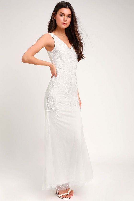 69325b2d0fc Glam White Dress - Embroidered Bridal Dress - Lace Bridal Dress