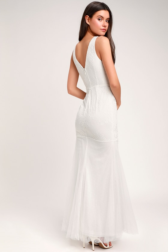 87f60f548362 Glam White Dress - Embroidered Bridal Dress - Lace Bridal Dress