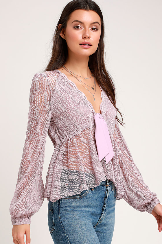faa8adf866058 Free People Luisa - Sexy Lavender Top - Babydoll Top - Lace Top