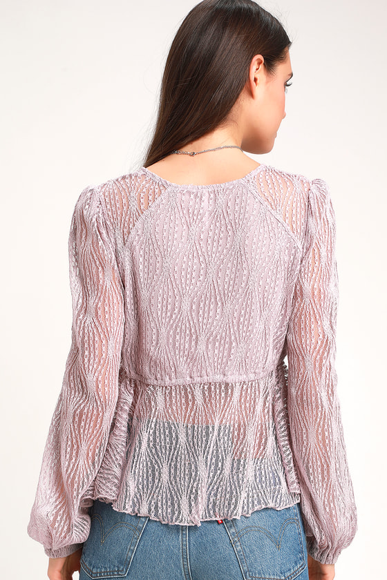 1cc5f4378c7dfd Free People Luisa - Sexy Lavender Top - Babydoll Top - Lace Top