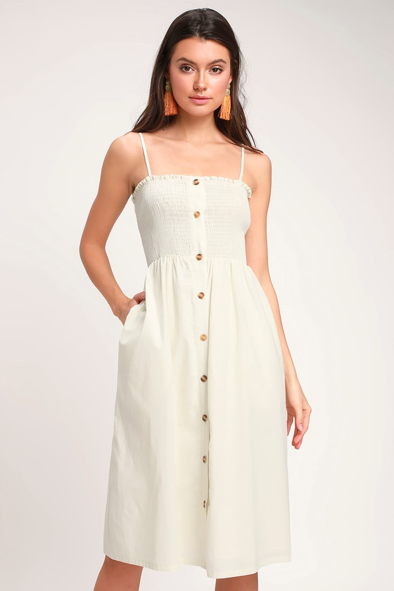 c0f282b1b3e Cute Cream Midi Dress - Smocked Dress - Button-Front Dress