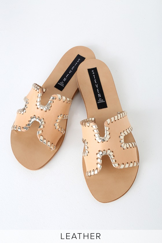 4721ebe4bef10 Steven by Steve Madden Greece-M - Blush Leather Slide Sandals