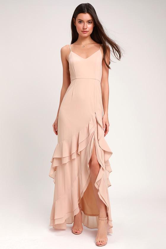 82926568bccfe Lovely Maxi Dress - Blush Maxi Dress - Ruffled Maxi Dress