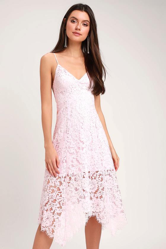 One Wish Light Blush Pink Lace Midi Dress