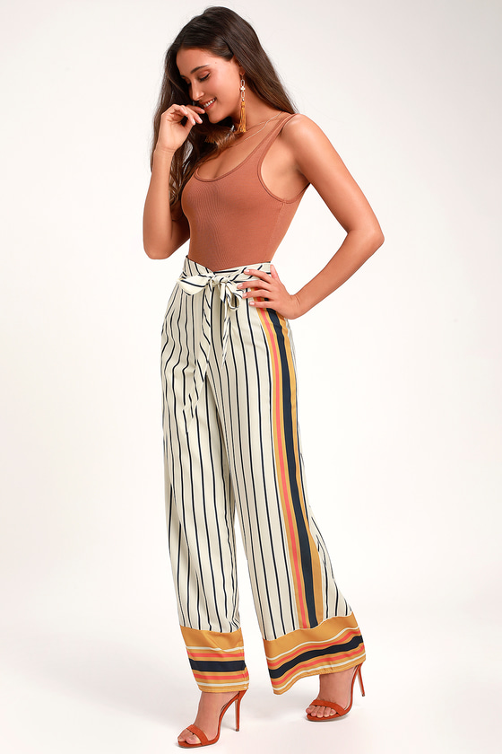 SMILES FOR MILES IVORY MULTI STRIPE WIDE-LEG TIE-WAIST PANTS