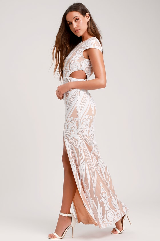 adf77264cb RYSE Emily - White Sequin Gown - Sequin Maxi Dress - Bridal Dress