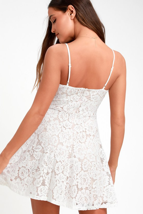 08665a5639013 Cute Lace Dress - White Lace Dress - Skater Dress - Mini Dress