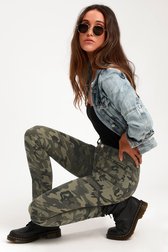 Cute Camo Print Jeans - Olive Green Jeans - Skinny Jeans - Jeans ccb2efa5bf34