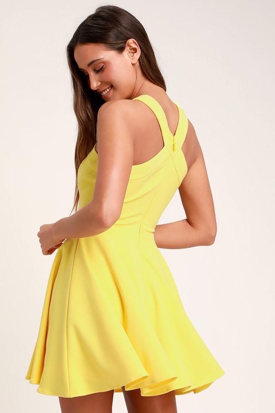 f5774ab4a1 Chic Yellow Dress - Skater Dress - Halter Dress - Short Dress