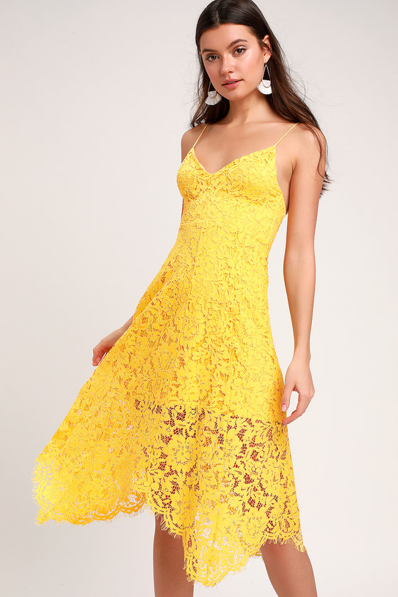 464c5e074f Lovely Yellow Lace Dress - Midi Dress - Handkerchief Hem Dress