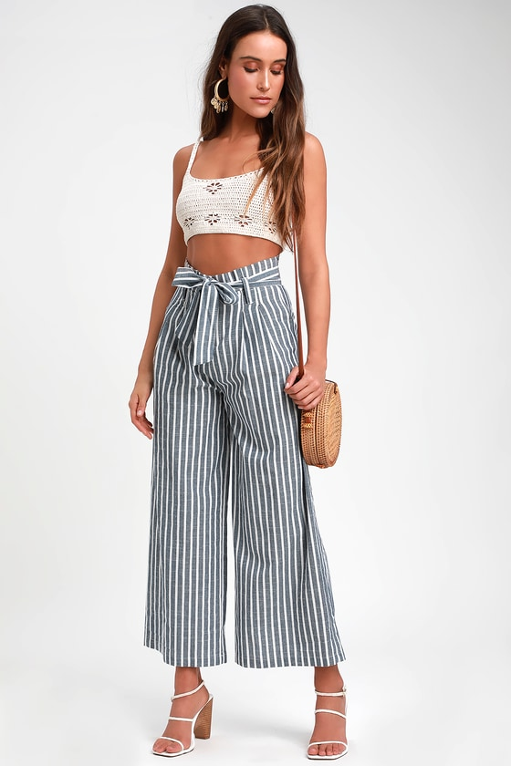 YACHTS OF LOVE BLUE AND WHITE STRIPED PAPERBAG WAIST PANTS