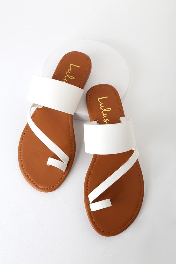 Cute White Sandals - Flat Sandals - Lulus