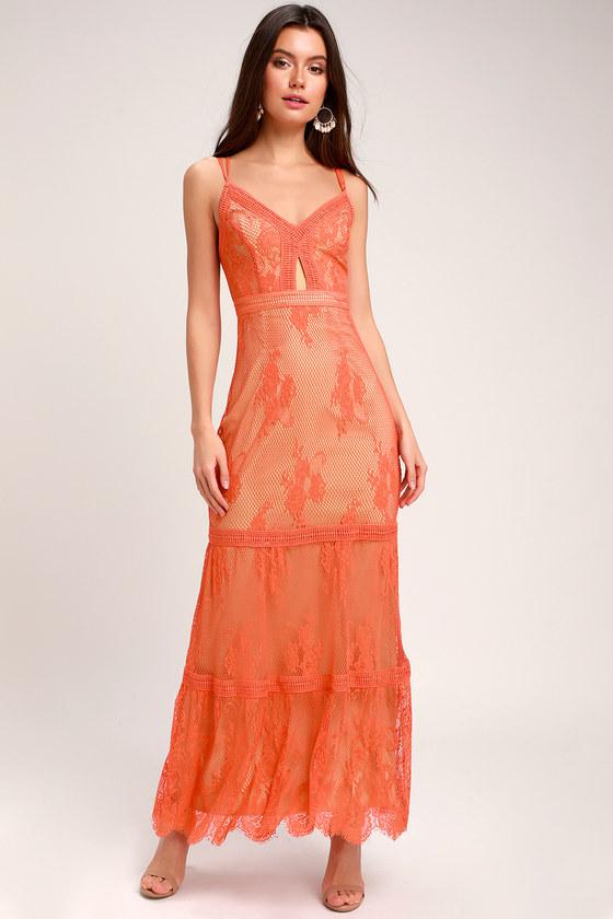 Vintage Evening Dresses and Formal Evening Gowns Ashley Coral Orange Lace Maxi Dress - Lulus $168.00 AT vintagedancer.com