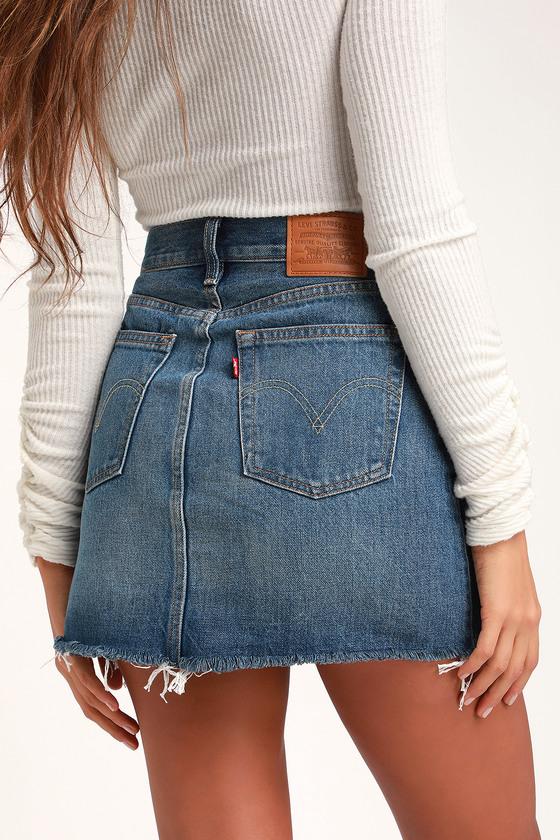 08897af5fc Levi's Deconstructed Skirt - Blue Denim Skirt - Mini Skirt