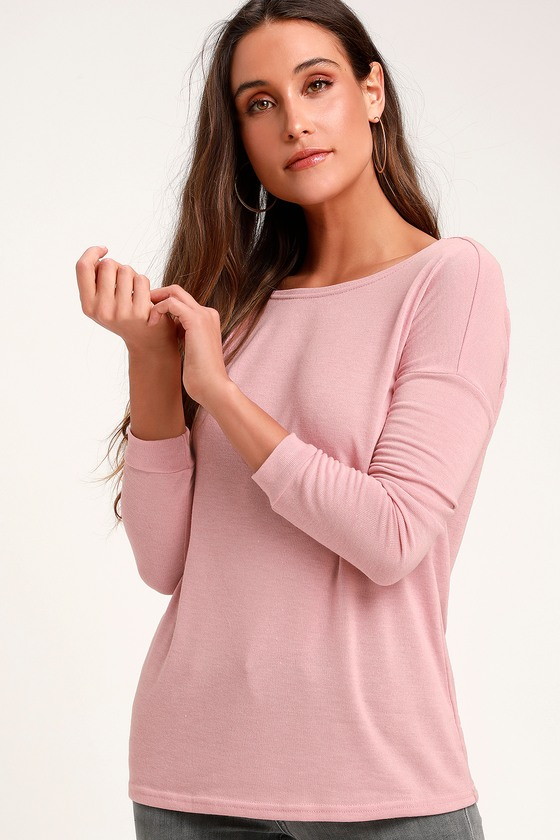 a93dad5186685 Cozy Blush Pink Sweater - Backless Sweater - Long Sleeve Top