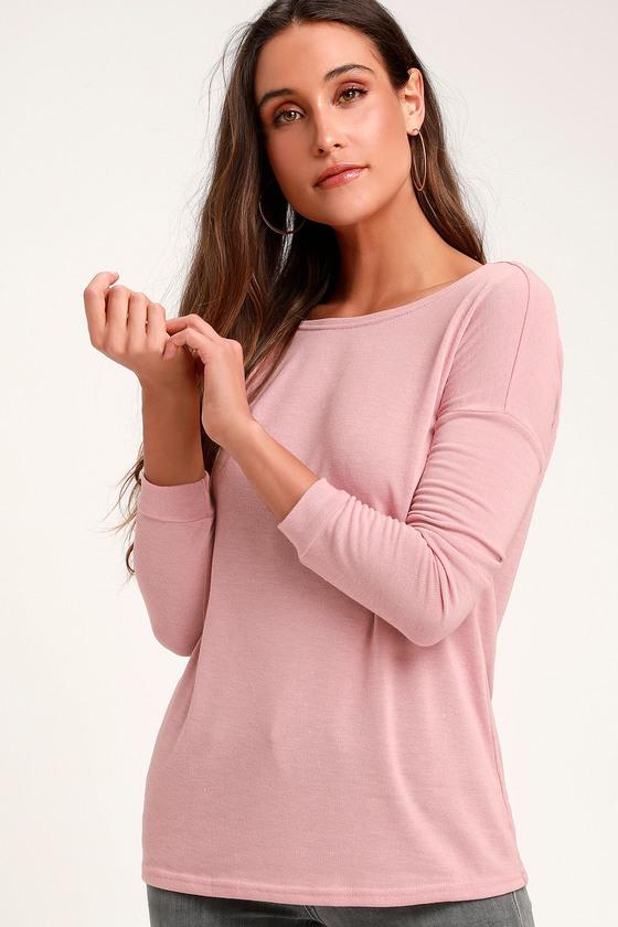 f5cbdd9741 Cozy Blush Pink Sweater - Backless Sweater - Long Sleeve Top