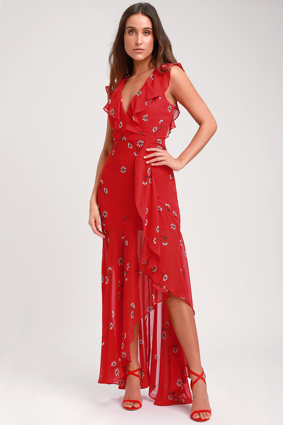 401e6188181 Lovely Red Floral Print Dress - Ruffled Dress - Sleeveless Maxi
