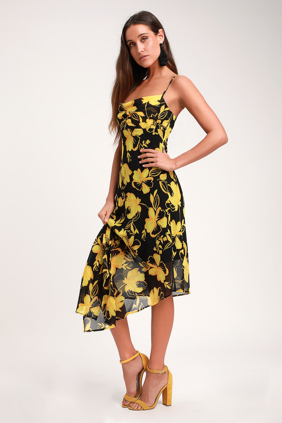 3ca00c0ec On and Off Black and Yellow Floral Print Asymmetrical Midi Dress