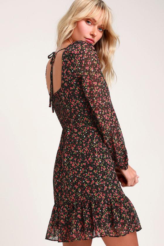 Mini Dress Size M Long Sleeves Dress Flower Dress Relaxed Fit Floral Dress
