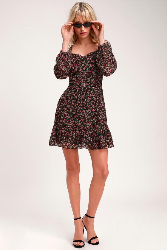 e68bce129269c Cute Floral Print Dress - Black Floral Dress - Long Sleeve Dress