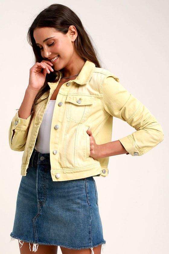 63a7ab819c80 Free People Rumors - Light Yellow Jacket - Denim Jacket