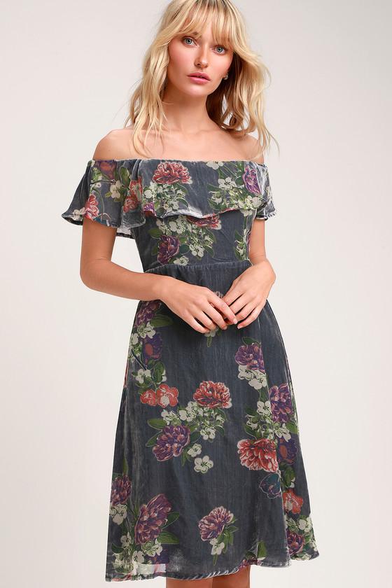 765fa907f50d Grey Floral Print Dress - Burnout Velvet Dress - Off-the-shoulder