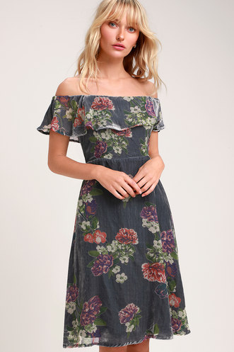 30ac98010d9 Clarita Grey Burnout Velvet Floral Print Off-the-Shoulder Dress
