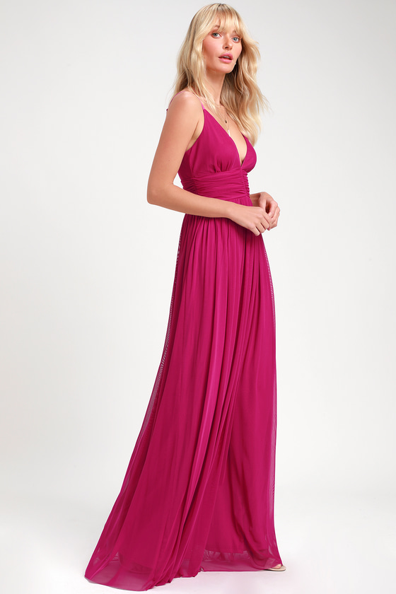 Glam Magenta Maxi Dress Magenta Gown Pink Maxi Dress