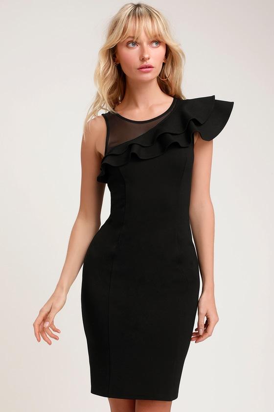 d201f85a0439e1 Sexy Black Dress - Little Black Dress - Ruffled Bodycon Dress