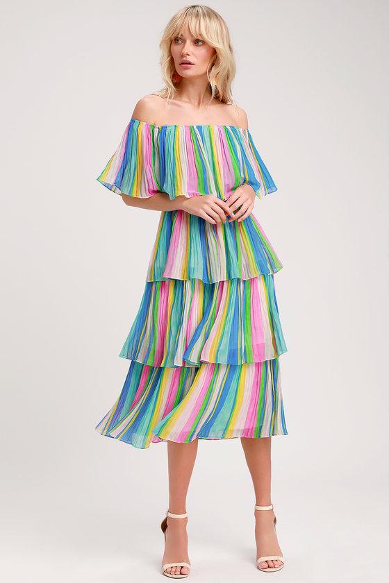 81321c33c3f4 Gala Ready Multi Stripe Print Off-the-Shoulder Ruffle Midi Dress