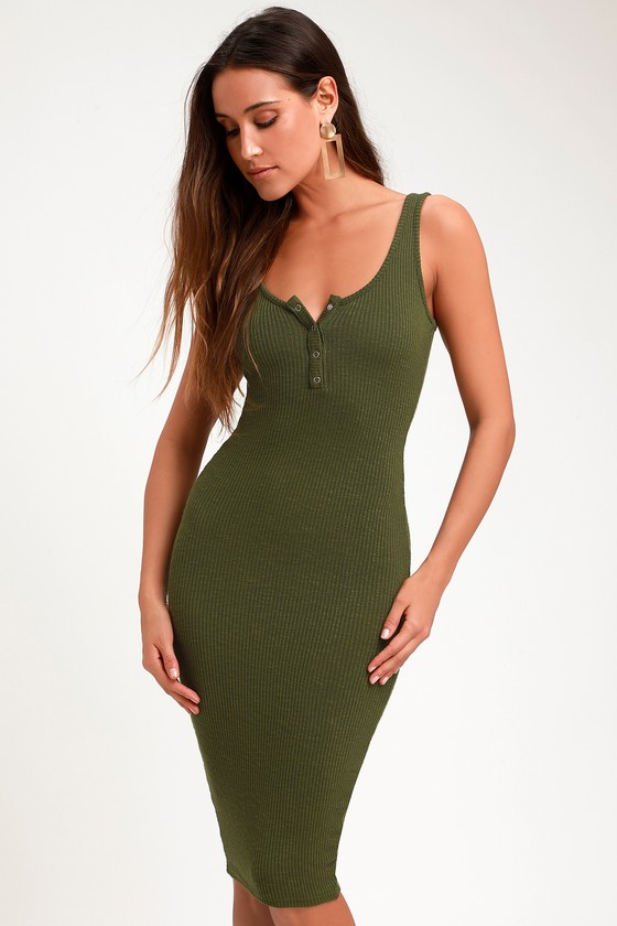25583c6fe51 Olive Green Midi Dress - Ribbed Midi Dress - Midi Bodycon Dress