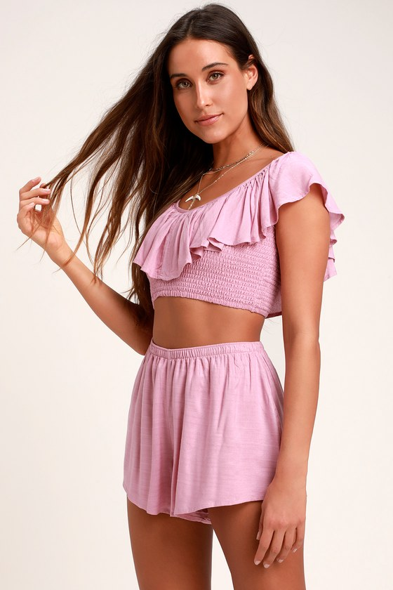 cf28a9dec53 Amuse Society Cayo De Coco - Lavender Crop Top - Smocked Crop Top
