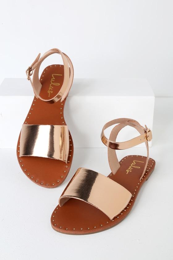 e2add853a7c1 Trendy Rose Gold Sandals - Studded Sandals - Flat Sandals