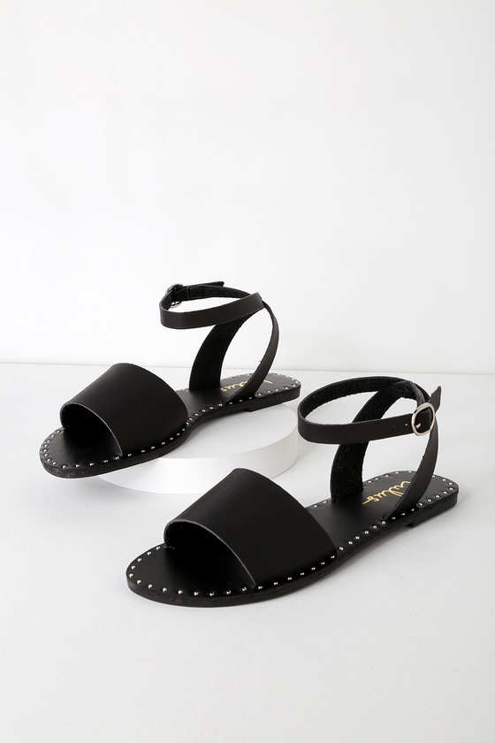 0230dc42ee3a Trendy Black Sandals - Studded Sandals - Flat Sandals
