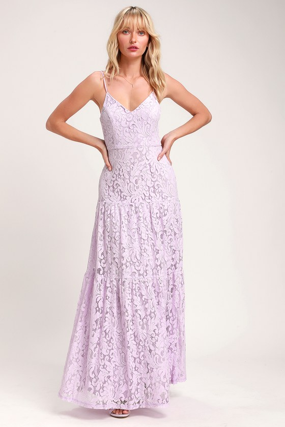 de421fb3be8 Lovely Lavender Dress - Lace Maxi Dress - Sleeveless Maxi Dress