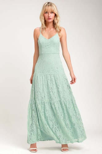 86c773b00cf Finely Light Sage Green Lace Tiered Maxi Dress