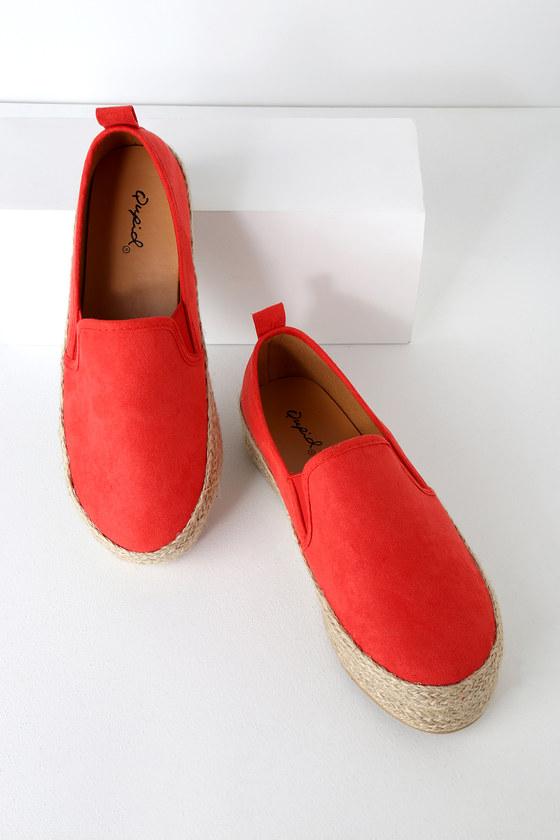0d7be14529e4 Cool Blood Orange Sneakers - Flatforms - Flatform Espadrilles