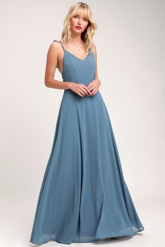6b250e9c3b3aa2 Slate Blue Maxi Dress - Sleeveless Dress - Bridesmaid Dress