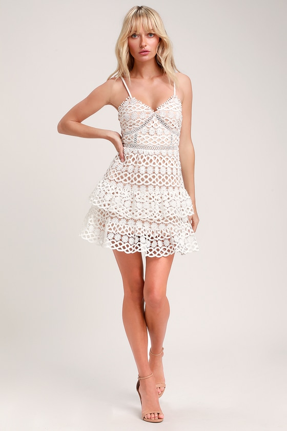 f642f38b08e Cute White and Nude Dress - Crochet Lace Dress - Ruffle Dress