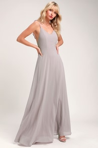07f5fb02ad638 Beautiful Grey Dress - Maxi Dress - Halter Dress - $70.00