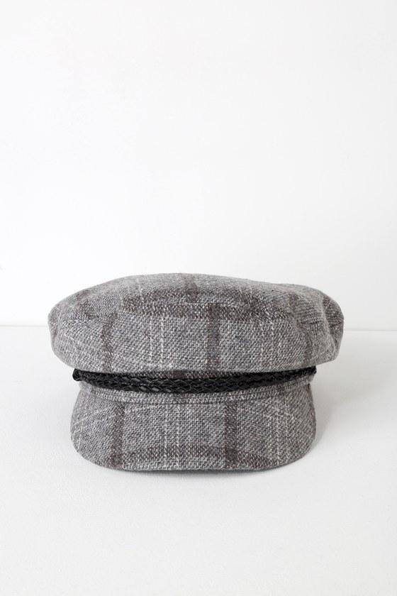 f683a27a04a77 Brixton Fiddler - Grey Plaid Hat - Fisherman Cap