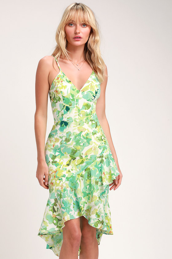 5fca40f19 Dress the Population Wendy - Ivory and Green Leaf Print - Midi